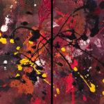 Nebulia - Acrylique sur toile, Diptyque, 8 x 10 po. /20 x 25,5 cm