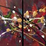 Free Vol - Acrylique sur toile, Diptyque, 8 x 10 po. /20 x 25,5 cm
