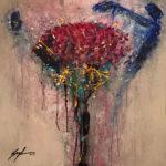 Flor de la India - Acrylique sur toile, 40x40 po. / 102x102 cm