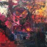 Lluvia de estrellas - Acrylique sur toile, 42x36 po. / 107 x 90 cm