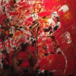 Rouge Passion - Acrylique sur toile, 36x36 po./ 91,44x91,44 cm
