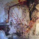 Espacio Mistico - Acrylique sur toile et feuilles d'argent, 55x52 po. / 139,7x132,8